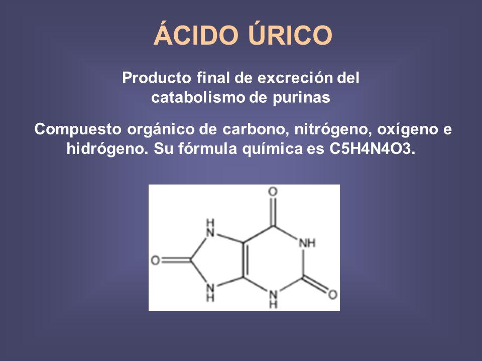 Producto final de excreción del catabolismo de purinas