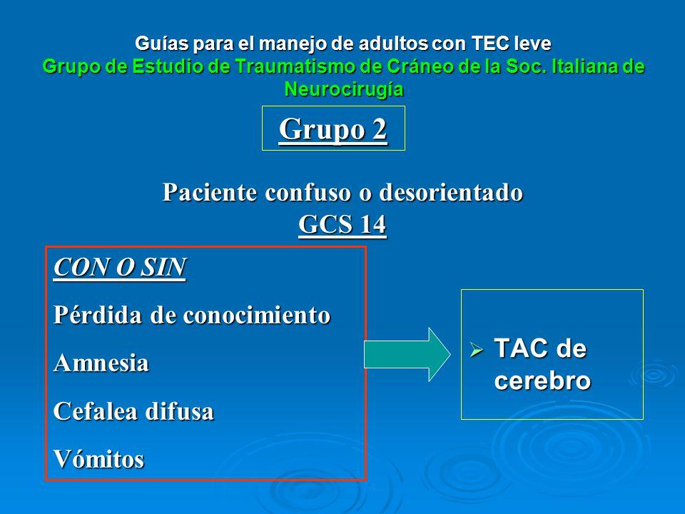 Paciente confuso o desorientado GCS 14