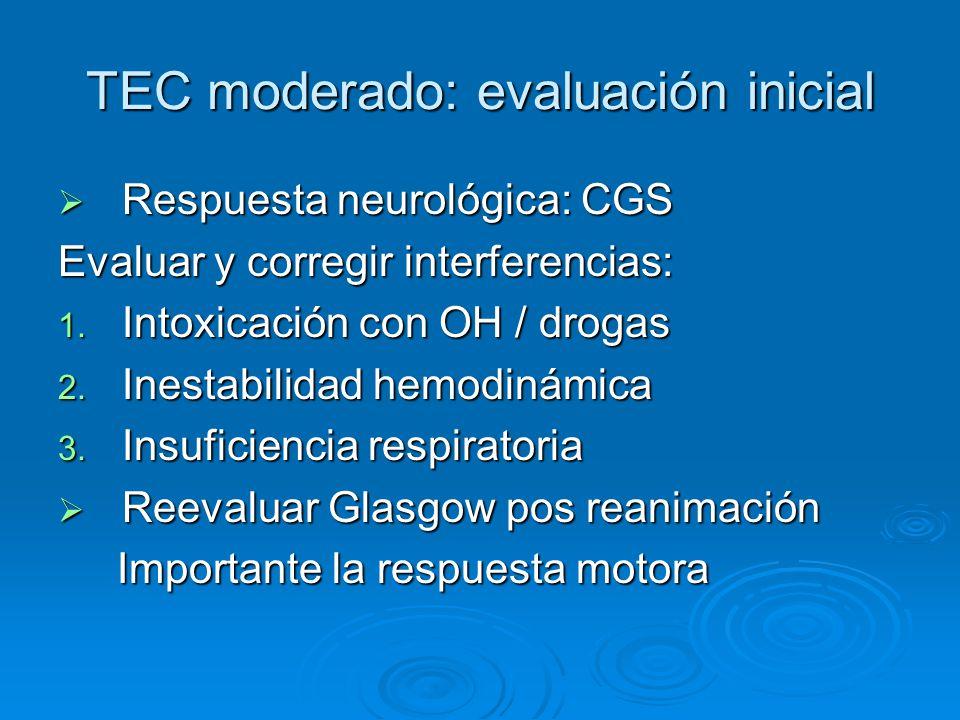 TEC moderado: evaluación inicial