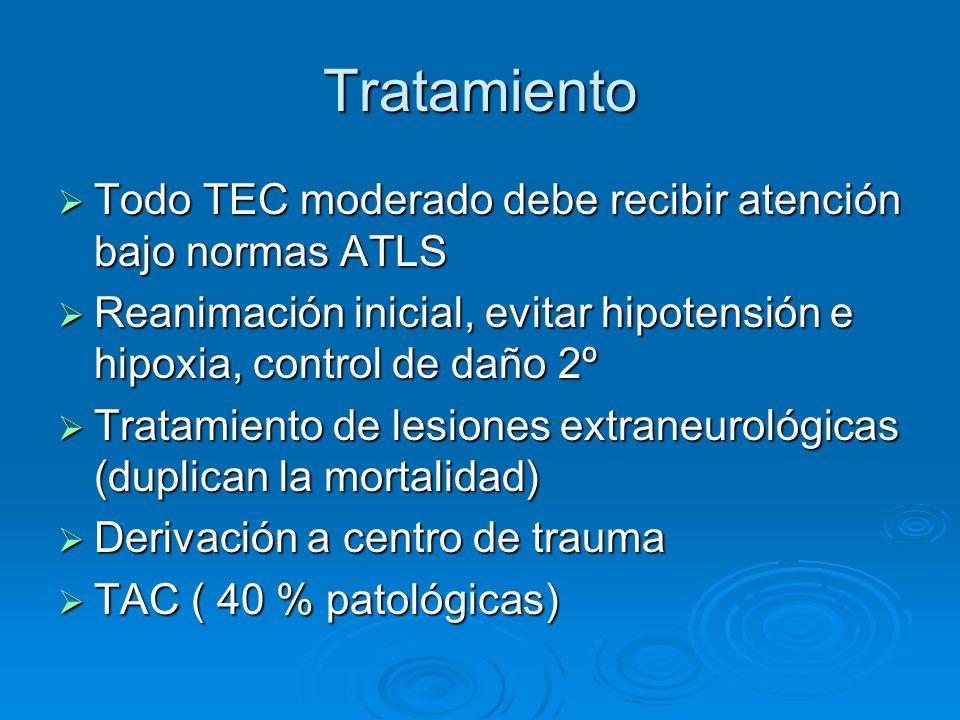 Tratamiento Todo TEC moderado debe recibir atención bajo normas ATLS