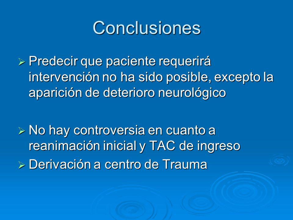 Conclusiones Predecir que paciente requerirá intervención no ha sido posible, excepto la aparición de deterioro neurológico.