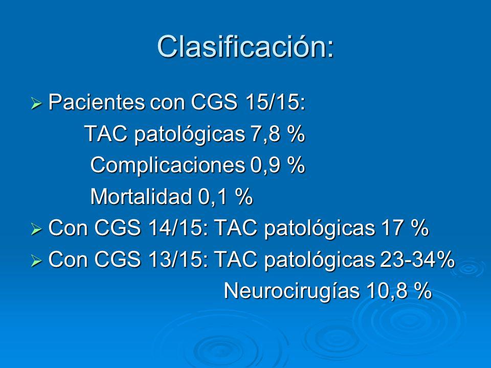 Clasificación: Pacientes con CGS 15/15: TAC patológicas 7,8 %