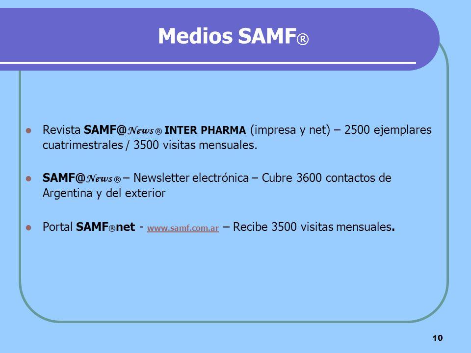 Medios SAMF® Revista SAMF@News ® INTER PHARMA (impresa y net) – 2500 ejemplares cuatrimestrales / 3500 visitas mensuales.