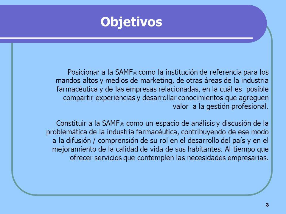 Objetivos Posicionar a la SAMF® como la institución de referencia para los. mandos altos y medios de marketing, de otras áreas de la industria.