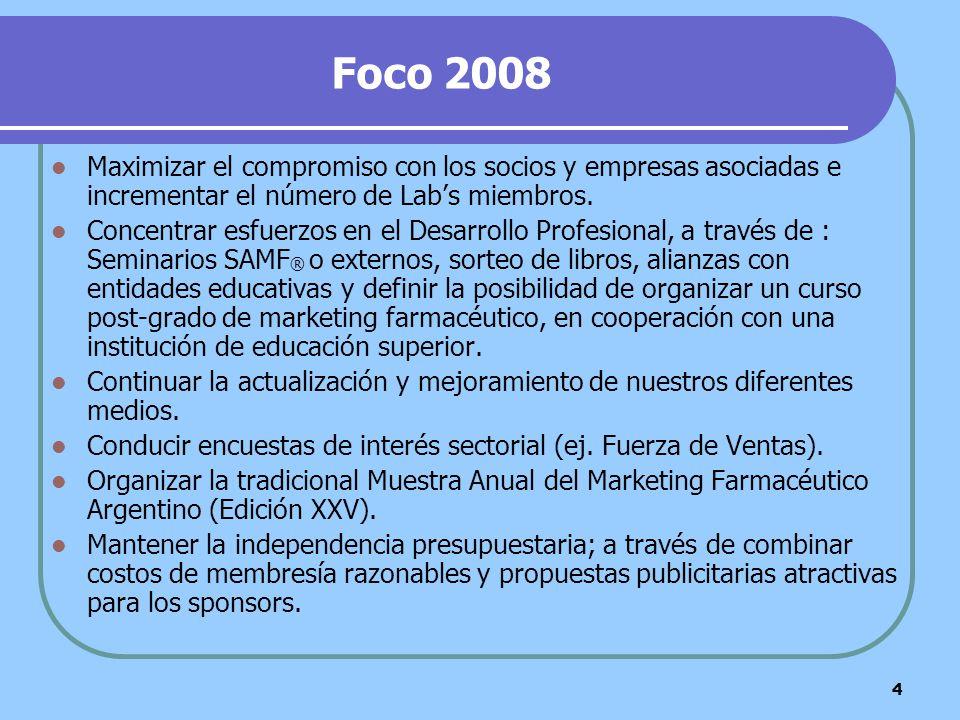 Foco 2008 Maximizar el compromiso con los socios y empresas asociadas e incrementar el número de Lab's miembros.