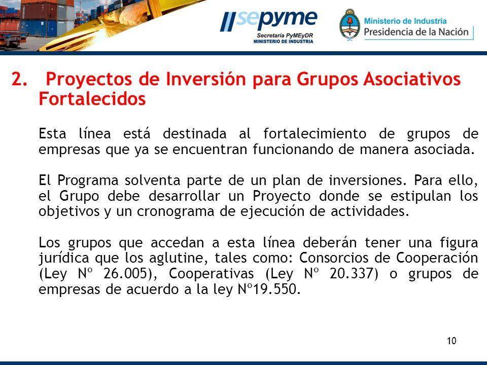 2. Proyectos de Inversión para Grupos Asociativos Fortalecidos