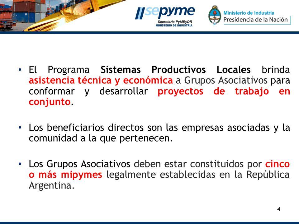 El Programa Sistemas Productivos Locales brinda asistencia técnica y económica a Grupos Asociativos para conformar y desarrollar proyectos de trabajo en conjunto.