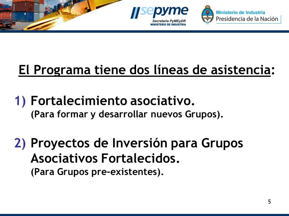 El Programa tiene dos líneas de asistencia: