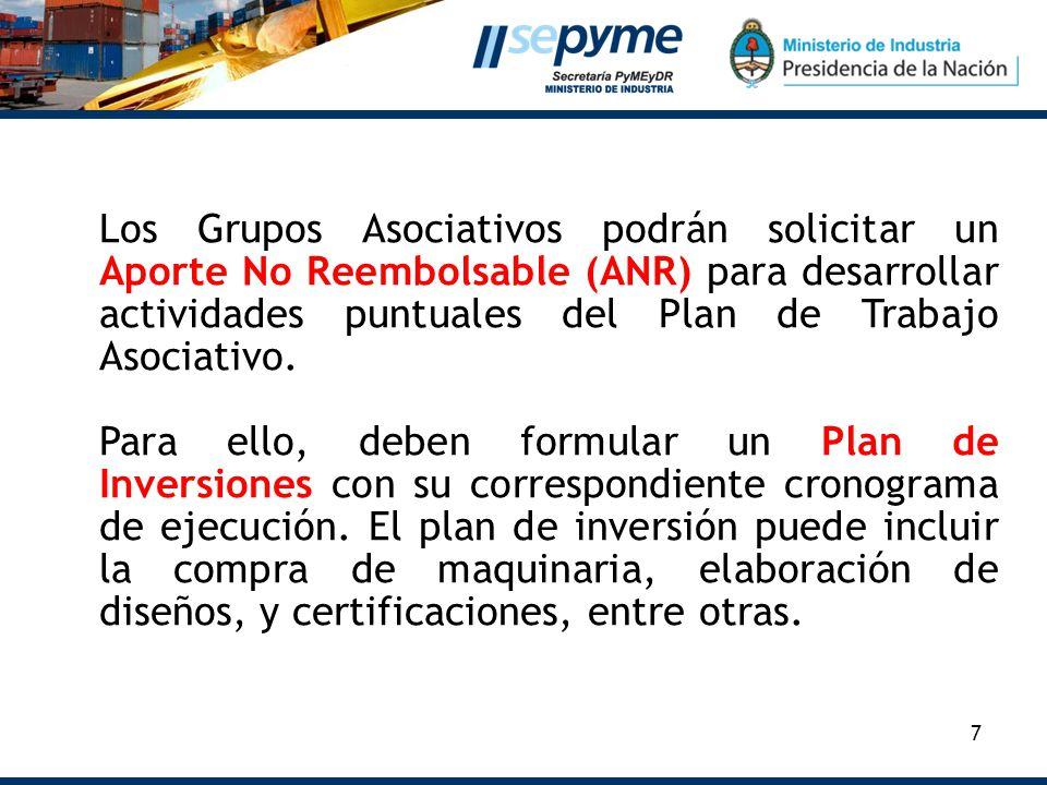 Los Grupos Asociativos podrán solicitar un Aporte No Reembolsable (ANR) para desarrollar actividades puntuales del Plan de Trabajo Asociativo.