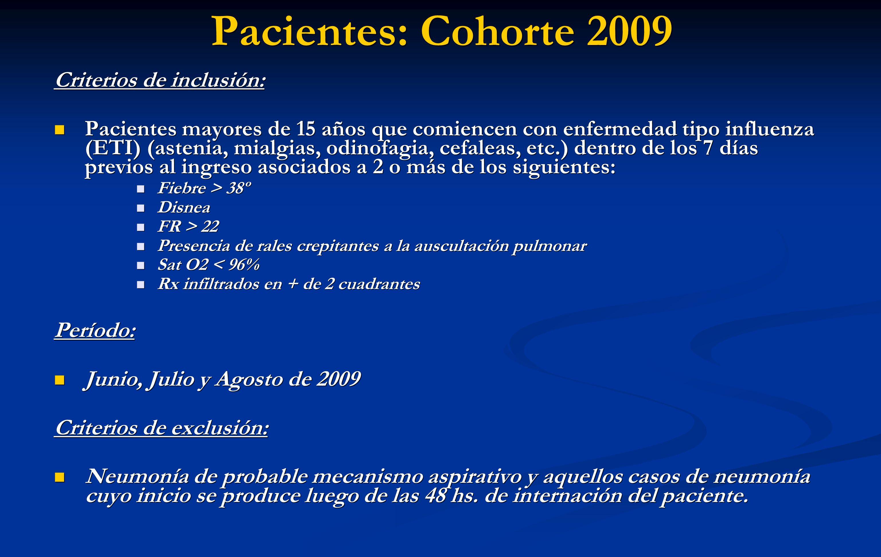 Pacientes: Cohorte 2009 Criterios de inclusión: