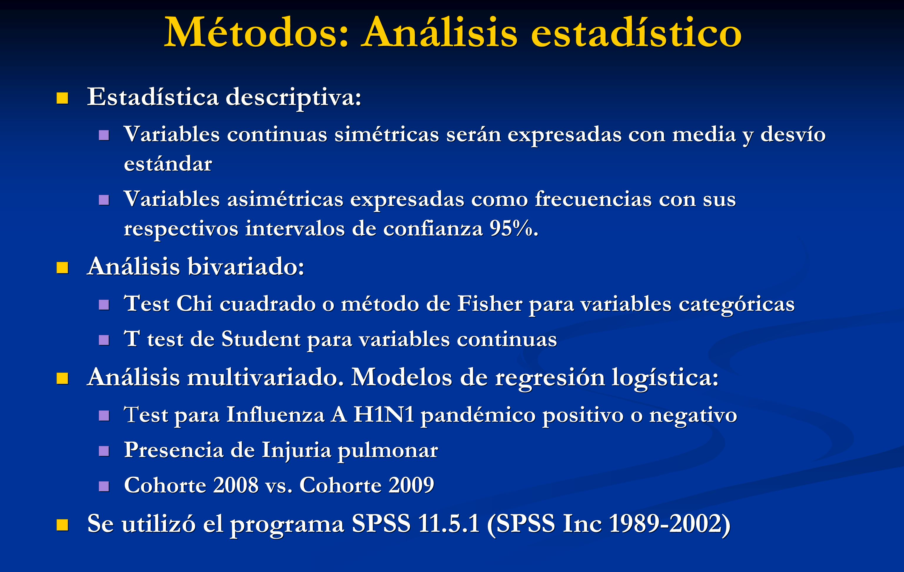 Métodos: Análisis estadístico