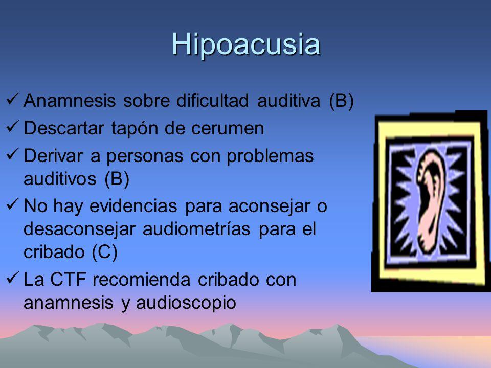 Hipoacusia Anamnesis sobre dificultad auditiva (B)