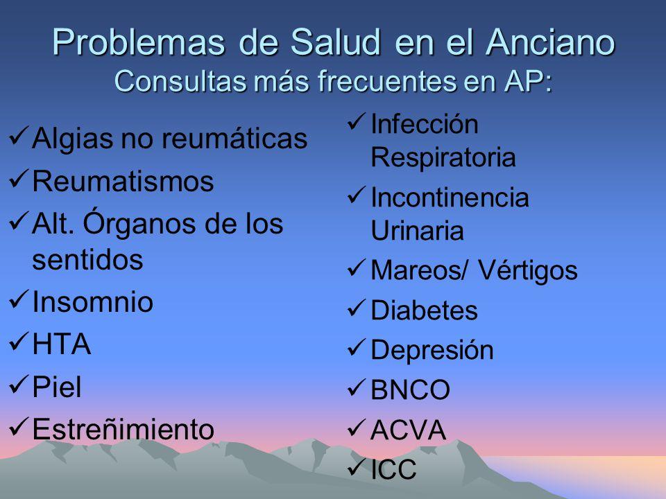 Problemas de Salud en el Anciano Consultas más frecuentes en AP: