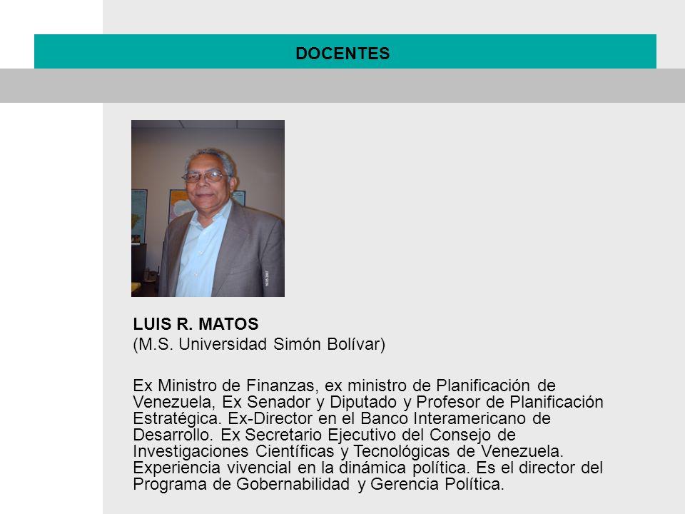 DOCENTES LUIS R. MATOS. (M.S. Universidad Simón Bolívar)