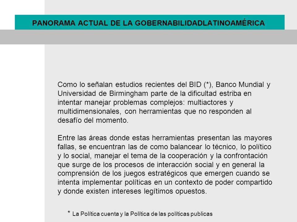 PANORAMA ACTUAL DE LA GOBERNABILIDADLATINOAMÉRICA
