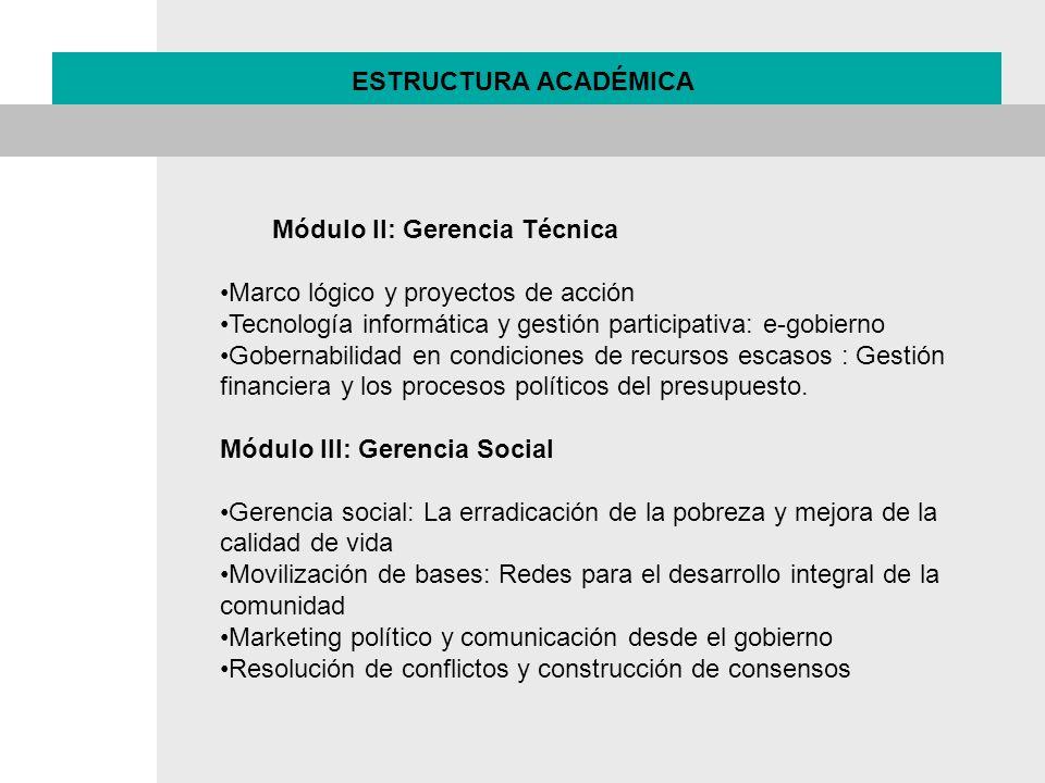ESTRUCTURA ACADÉMICA Módulo II: Gerencia Técnica. Marco lógico y proyectos de acción. Tecnología informática y gestión participativa: e-gobierno.