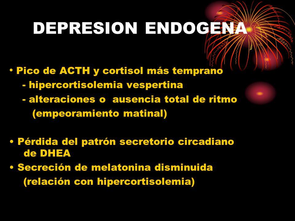 DEPRESION ENDOGENA Pico de ACTH y cortisol más temprano
