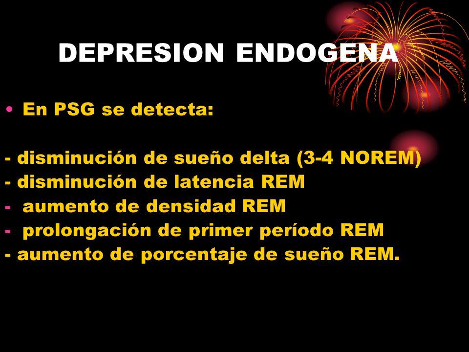 DEPRESION ENDOGENA En PSG se detecta: