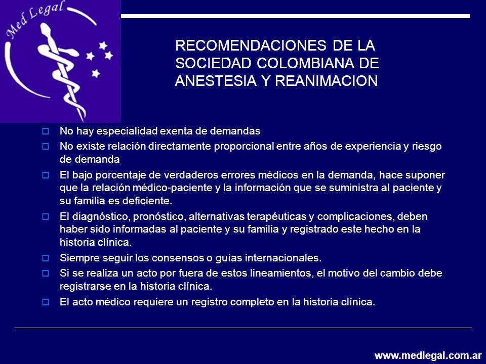 RECOMENDACIONES DE LA SOCIEDAD COLOMBIANA DE ANESTESIA Y REANIMACION