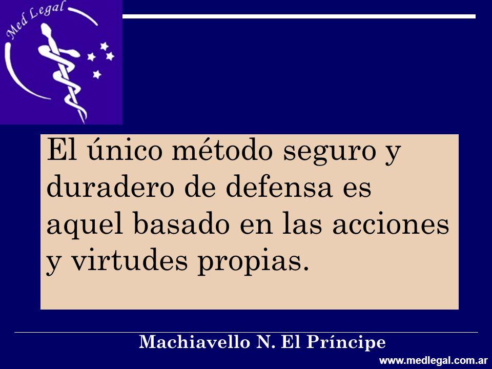 El único método seguro y duradero de defensa es aquel basado en las acciones y virtudes propias.