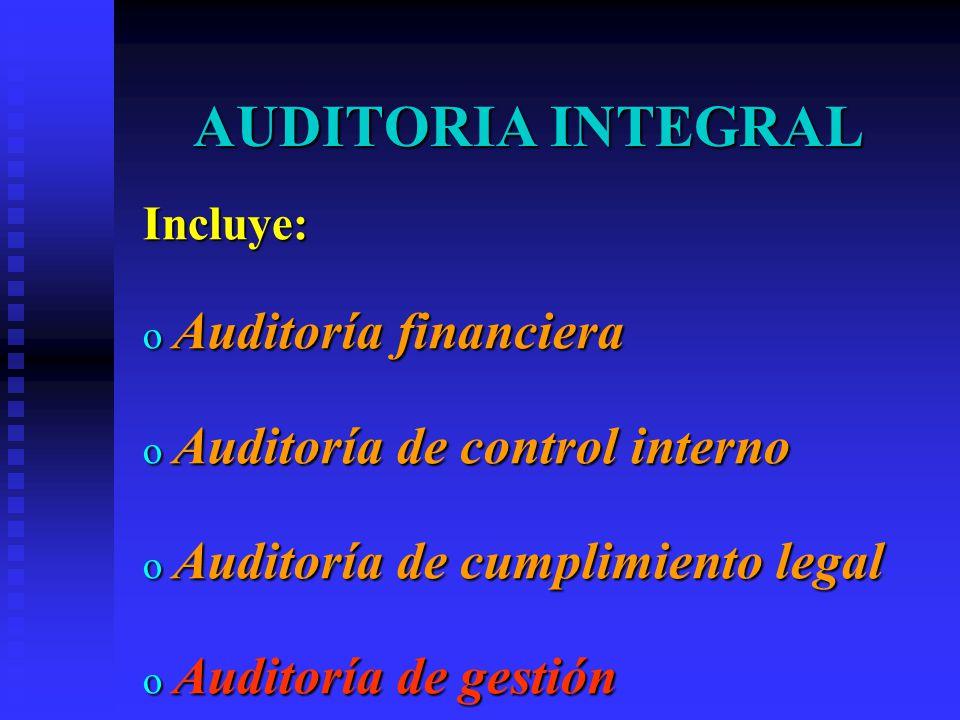 AUDITORIA INTEGRAL Auditoría financiera Auditoría de control interno
