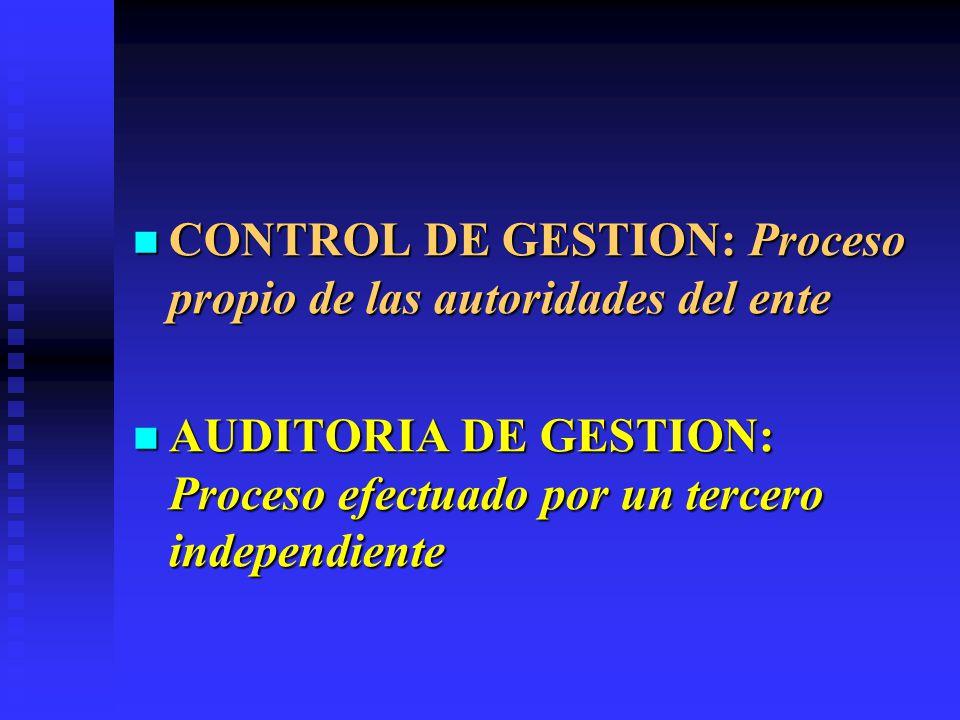 CONTROL DE GESTION: Proceso propio de las autoridades del ente