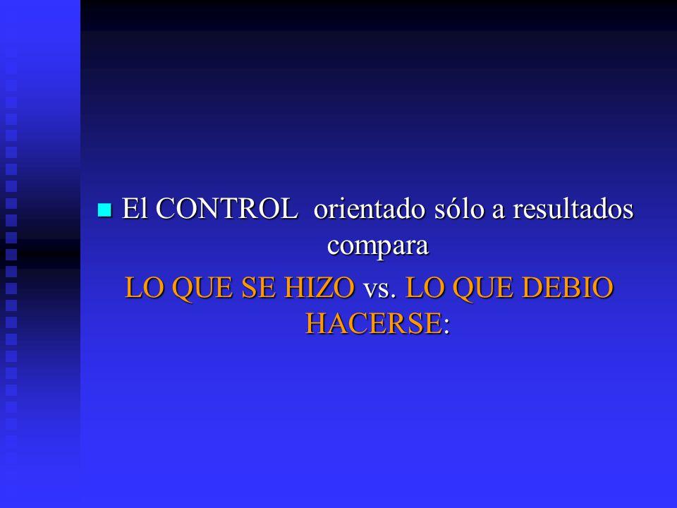 El CONTROL orientado sólo a resultados compara