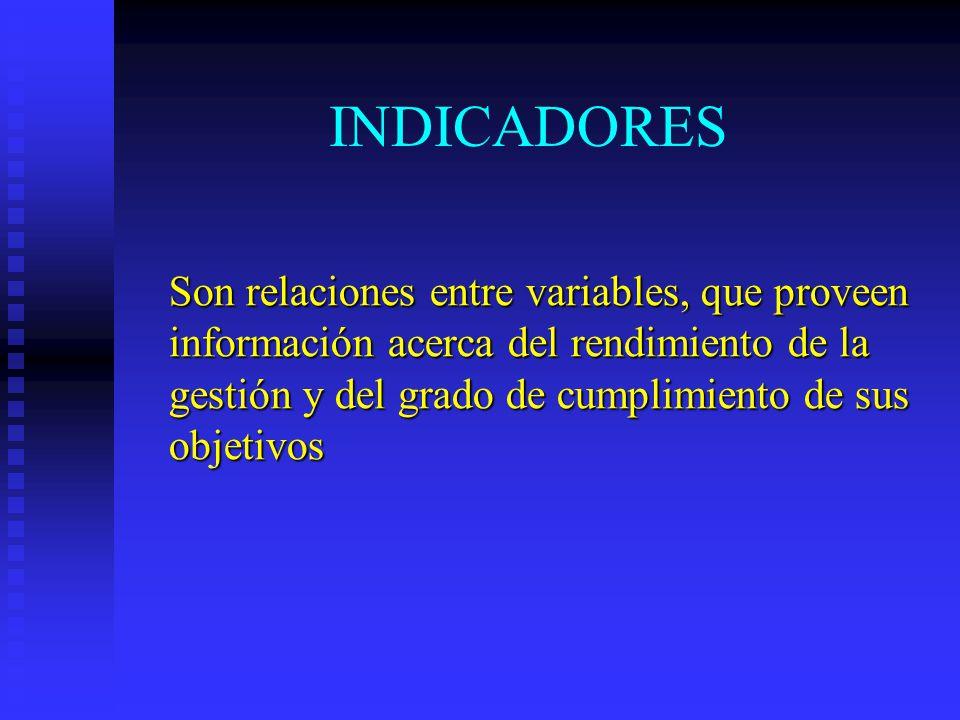 INDICADORES Son relaciones entre variables, que proveen información acerca del rendimiento de la gestión y del grado de cumplimiento de sus objetivos.