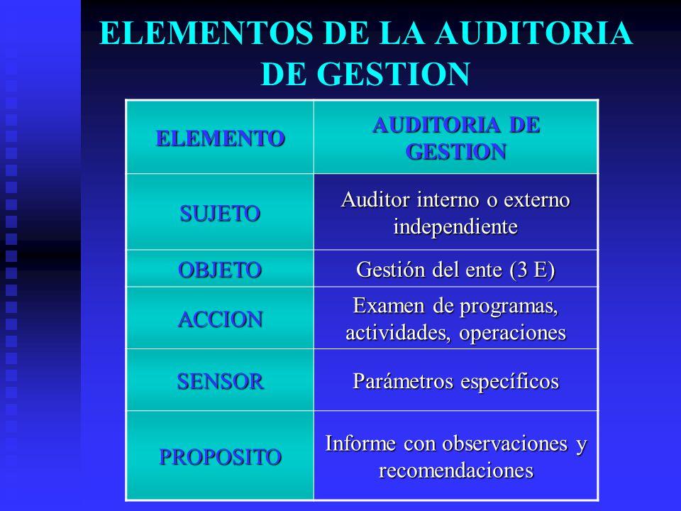 ELEMENTOS DE LA AUDITORIA DE GESTION