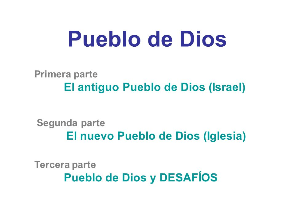 Pueblo de Dios Primera parte El antiguo Pueblo de Dios (Israel)