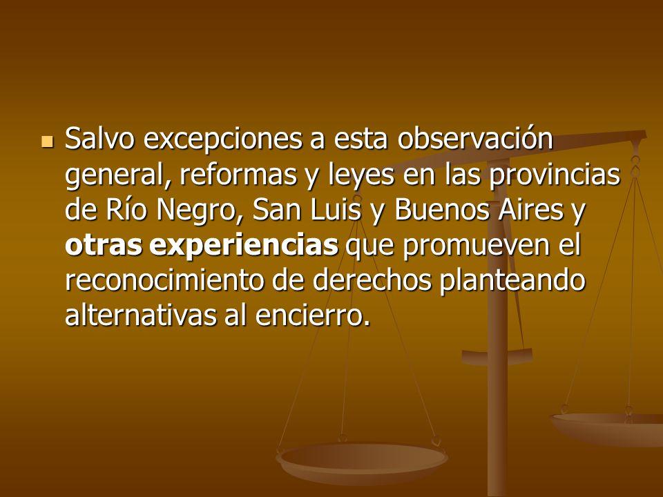 Salvo excepciones a esta observación general, reformas y leyes en las provincias de Río Negro, San Luis y Buenos Aires y otras experiencias que promueven el reconocimiento de derechos planteando alternativas al encierro.