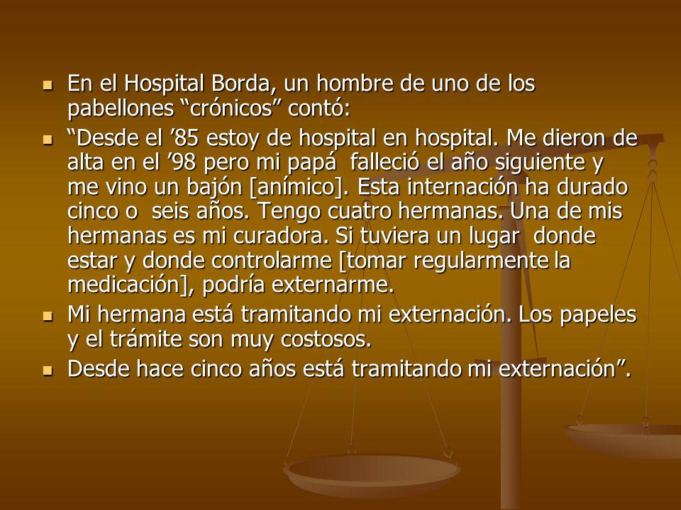 En el Hospital Borda, un hombre de uno de los pabellones crónicos contó: