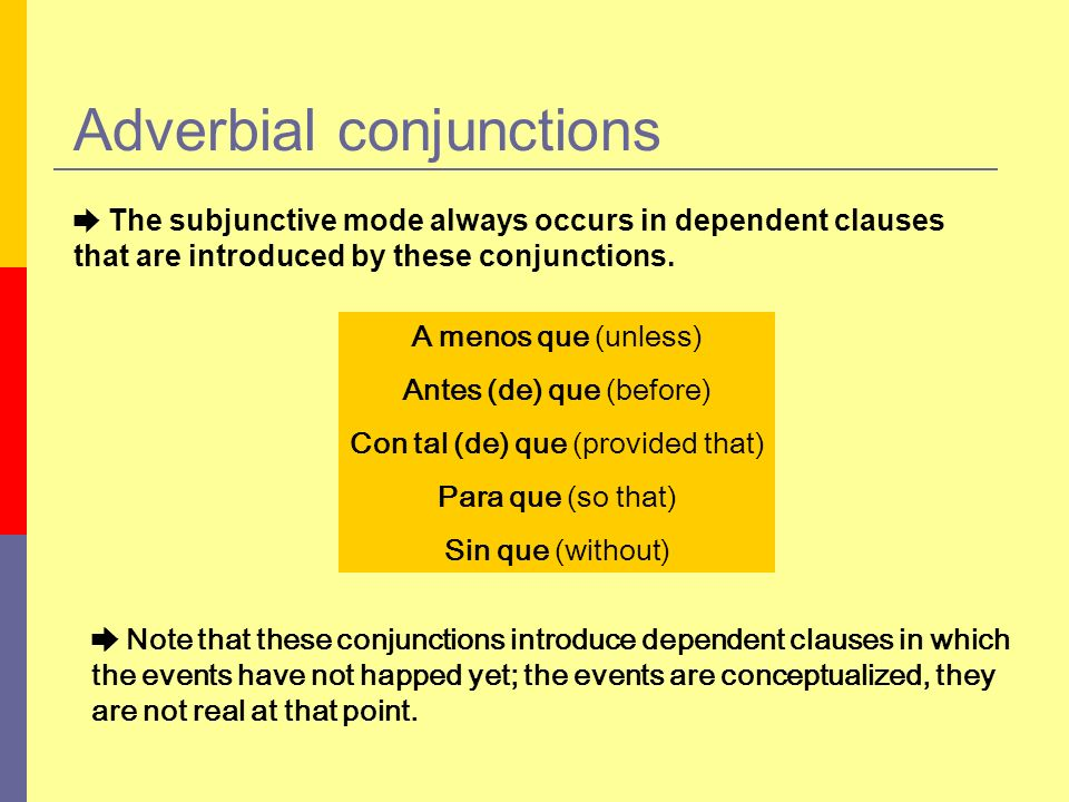 Adverbial conjunctions