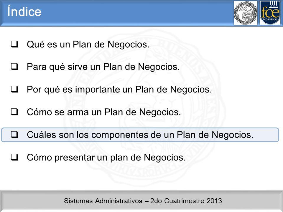 Índice Qué es un Plan de Negocios. Para qué sirve un Plan de Negocios.