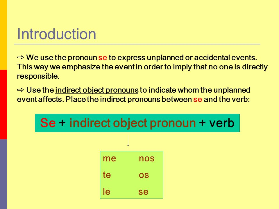Se + indirect object pronoun + verb