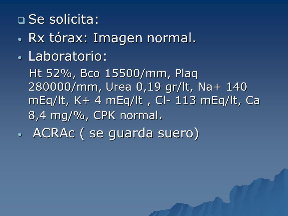 Rx tórax: Imagen normal. Laboratorio: