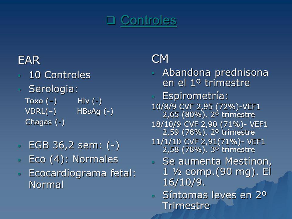 Controles EAR CM 10 Controles Abandona prednisona en el 1º trimestre