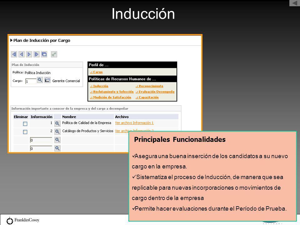 Inducción Principales Funcionalidades