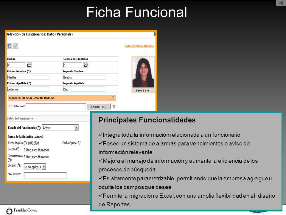 Ficha Funcional Principales Funcionalidades