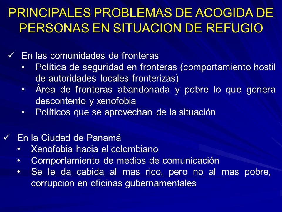 PRINCIPALES PROBLEMAS DE ACOGIDA DE PERSONAS EN SITUACION DE REFUGIO