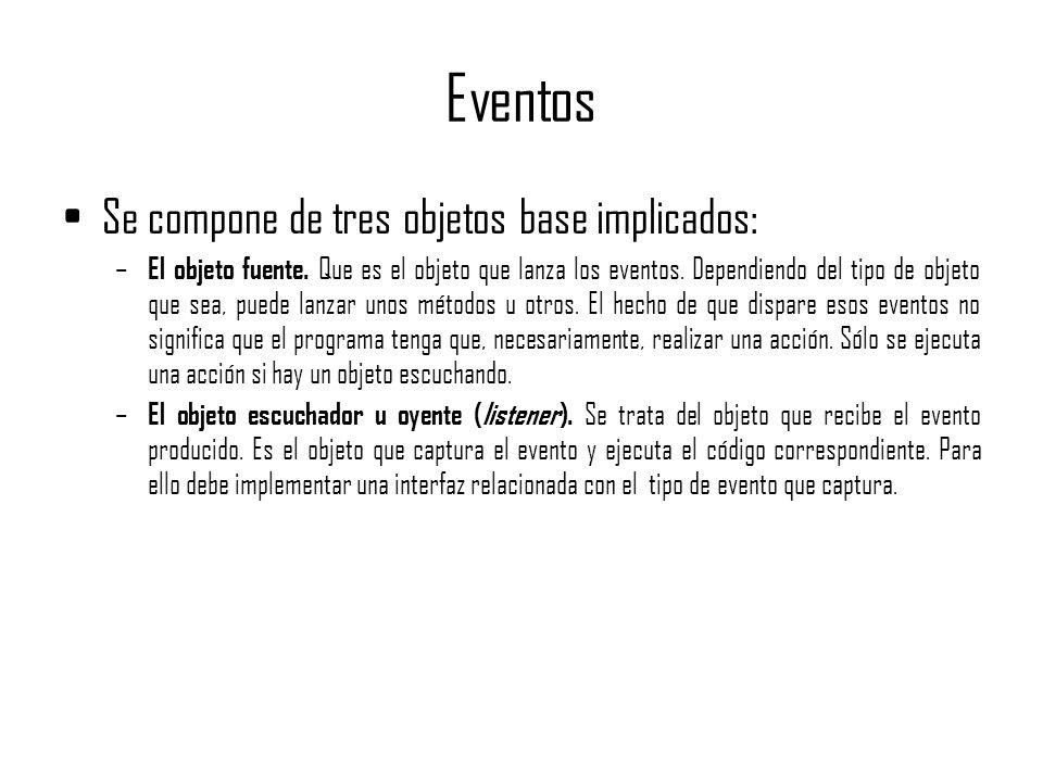 Eventos Se compone de tres objetos base implicados: