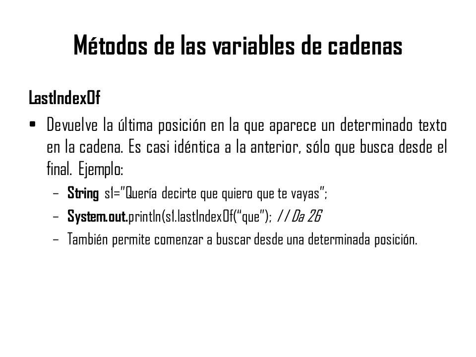 Métodos de las variables de cadenas