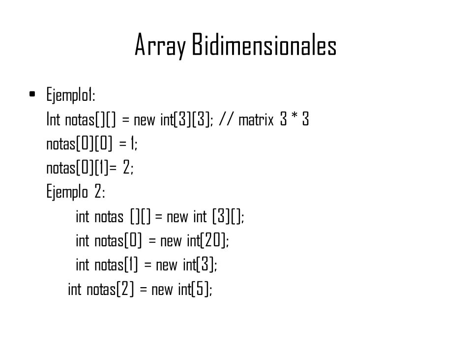 Array Bidimensionales