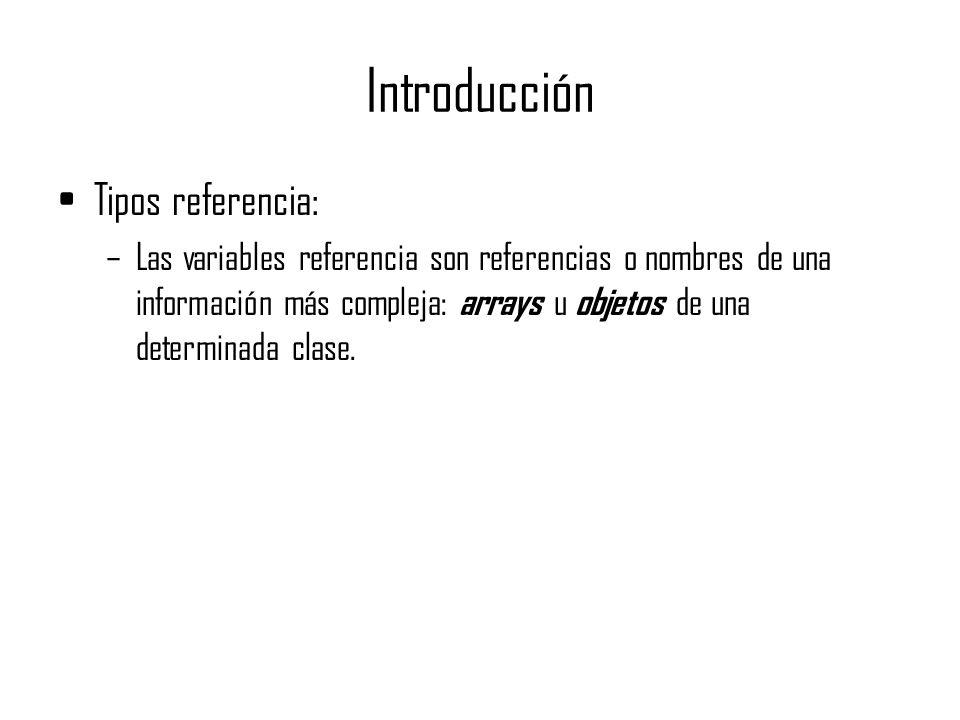 Introducción Tipos referencia: