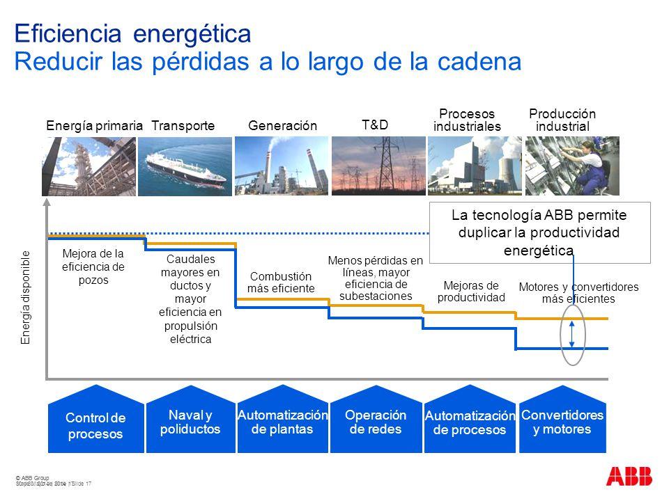 Eficiencia energética Reducir las pérdidas a lo largo de la cadena