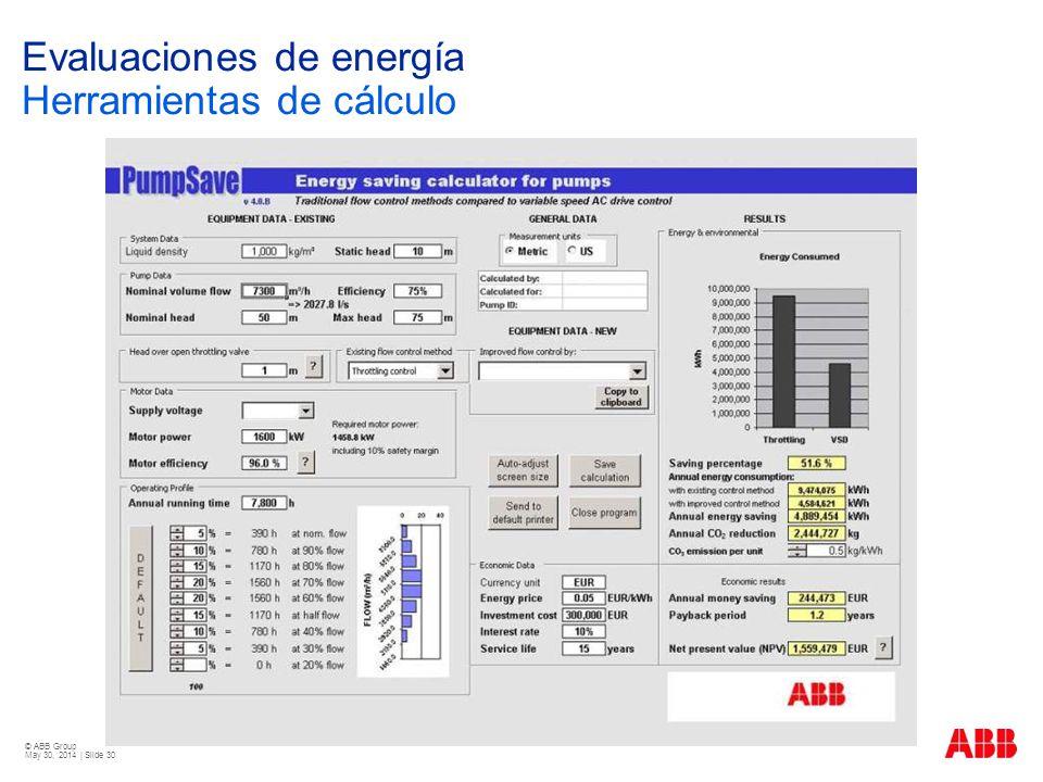 Evaluaciones de energía Herramientas de cálculo