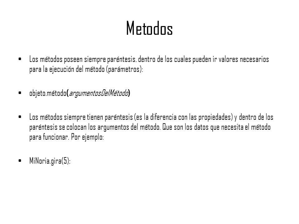 MetodosLos métodos poseen siempre paréntesis, dentro de los cuales pueden ir valores necesarios para la ejecución del método (parámetros):