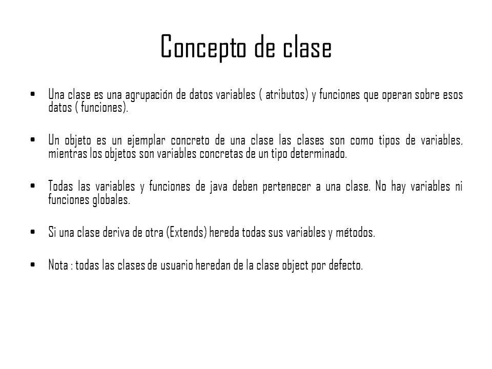 Concepto de claseUna clase es una agrupación de datos variables ( atributos) y funciones que operan sobre esos datos ( funciones).