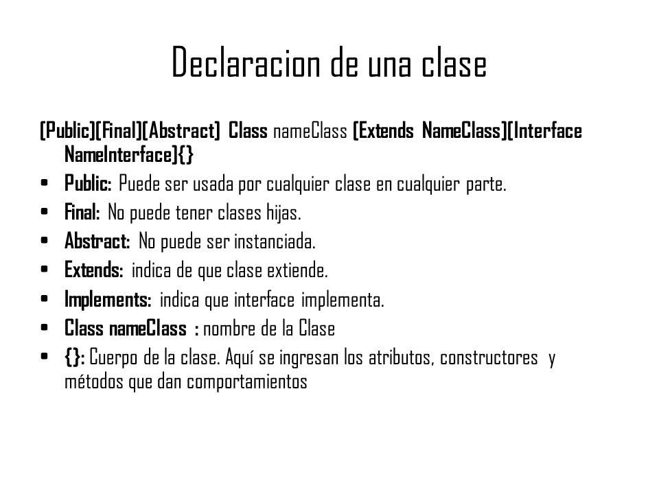 Declaracion de una clase
