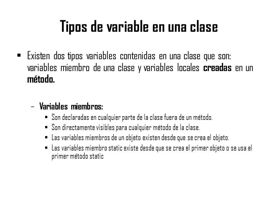 Tipos de variable en una clase